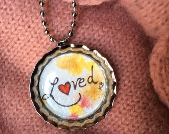 Original Watercolor Bottle Cap Necklace - Loved