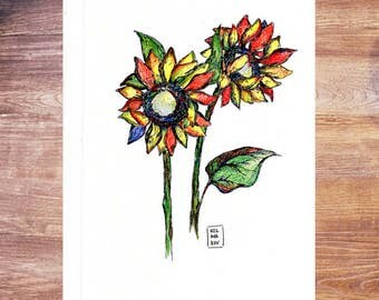 "Original ink and Prismacolor drawing ""Sunflowers"" - China ink; hand drawn; unique"
