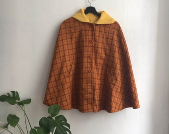 Vintage 70's plaid reversible cape poncho