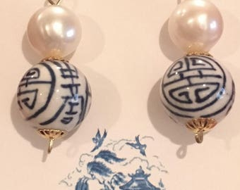 Blue and White Chinoiserie Earrings   dainty, lightweight, statement earrings, pearl, Chinese, dangle, drop, June, birthstone