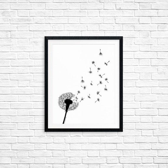 Printable Art, Dandelion, Make a Wish Art, Spiritual Symbol Art, Art Printable, Digital Download Print