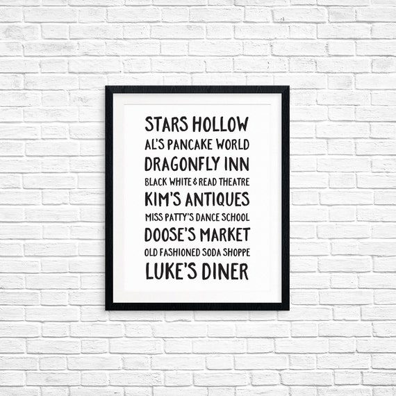 Printable Art, Stars Hollow Businesses, Gilmore Girls, Pop Culture, Typography Art Prints, Digital Download Print, Quote Printables