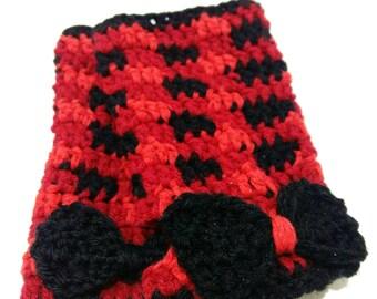 Plaid Fingerless Gloves - Red Gloves - Plaid Wrist Warmers - Fingerless Mittens - Red Plaid Gloves - Bow Gloves - Valentines Day Gift