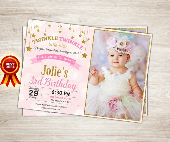 Twinkle Twinkle Little Star Invitation First Birthday