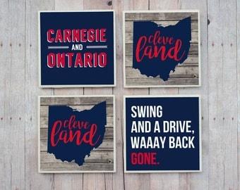 Cleveland Indians Coasters / Indians / Cleveland / Coaster / Progressive Field / Cleveland Gift / Cleveland Coasters / Ohio / Ohio Coasters