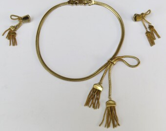 Vintage Monet signed gold plated tassle necklace and matching clip on earrings - 1970's