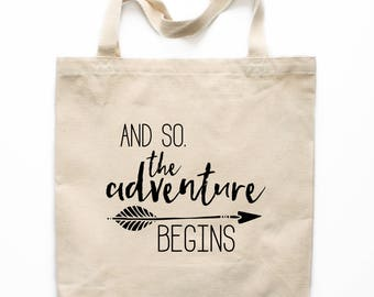 Canvas Tote Bag, Adventure Begins Tote Bag, Cotton Canvas Tote Bag, Printed Tote Bag, Market Bag, Shopping Bag, Reusable Grocery Bag 0050