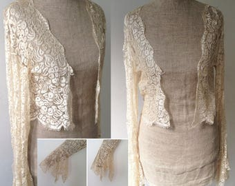 Vintage 1930s lace wedding bridal evening bolero jacket Wedding Bridal Art Deco