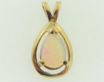 Antique White Pear Cut Opal Pendant- 14k Yellow Gold