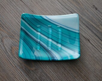 Teal, White, and Blue Aventurine Fused Glass Soap Dish; Fused Glass; Housewarming Gift; Hostess Gift