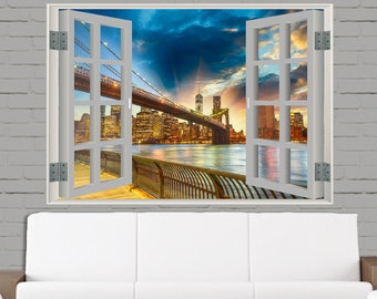 3D Wall Sticker Window, window view home, Self-Adhesive Vinyl removable, wall mural decal, vinyl decal,peel and stick, colorful wall art 15