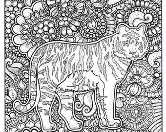 Tiger Coloring Page Book Pages Printable Adult Hand Drawn Art