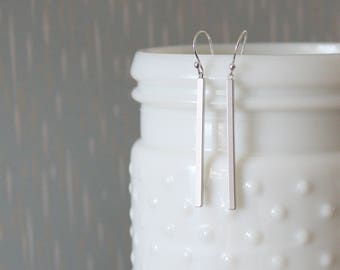 JILL - Skinny Matte Silver Bar, Sterling Silver Earwire, Dangle Earrings