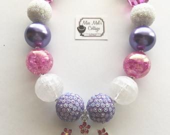 Sparkling Rhinestones Princess Crown/Tiara chunky bubblegum bead necklace