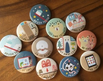 """ASSORTED Chore Magnets SET H, 1 set = 12 magnets, size 1.25"""" 32mm, Cute chore magnets, Chore magnets, kids responsibility chart, chores"""