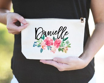 Custom Name Makeup Bag, Custom Name Canvas Bag, Personalized Name Canvas Bag, Custom Name Canvas Bag, Custom Name Floral Makeup Pouch