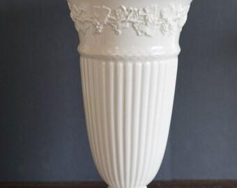 "11"" , Not 8"" Tall Wedgwood Vase Blue Embossed Queensware Creamy Relief Grape Vine -  England White Eturia Barlaston Porcelain Home Decor"