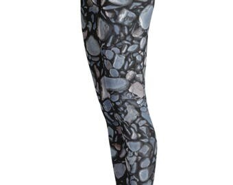 Black pebble print Leggings - Rock Leggings - Nature Leggings - Unique Leggings - Womens Leggings - Halloween - Kids Leggings - Summer