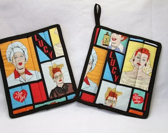 I Love Lucy Hot pads set of 2, pot holder, trivets