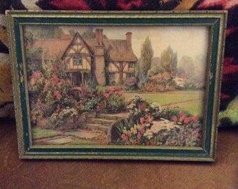 English cottage print, thatched cottage print, gardenprint, vintage print, framed print, Reliance Picture Frame Co., vintage print.