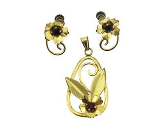 Sterling Silver Gold Flower Pendant and Earring Set, Large Gold Flower Pendant with Red Rhinestone