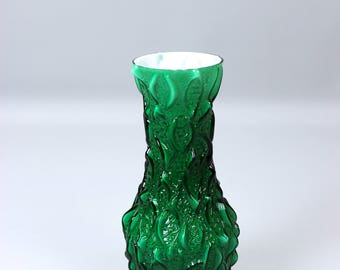Vintage vase, glass vase, relief frosted glass, green 70's