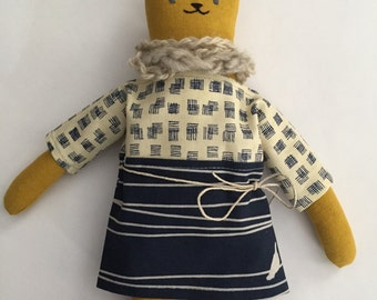 "10"" Kitty doll, handmade with all natural materials. Waldorf inspired dolls for creative play."