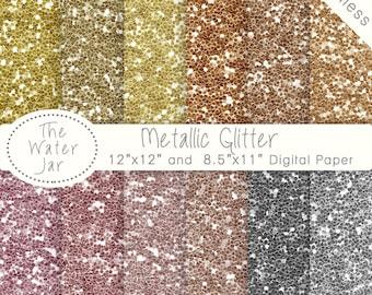 Digital Glitter Paper Pack, Seamless Glitter, Metallic Gold, Silver, Rose Gold Glitter, Copper Glitter, Bronze and Brass, Glittery