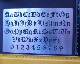 Stainless Steel stencil Oblong Old English Alphabet Numbers Emboss LARGE