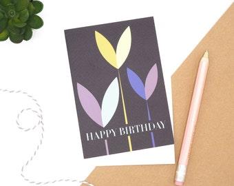 Floral Happy Birthday Card, Birthday Card, Blank Card A6, Happy Birthday Notecard