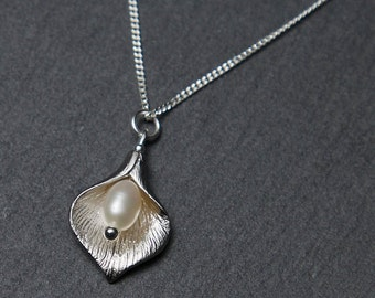 Silver Calla Lily Necklace, with Freshwater Pearl - Small. Silver Flower Necklace. Silver Pendant Necklace.