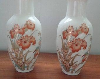 Vintage, Porcelain Peach Iris Jonquils and Bird Gold Trimmed Flower Vases, Vintage Flower Vase, Home Decor