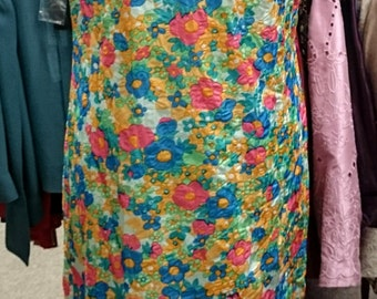 1960's Floral Long Sheath Dress