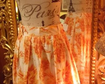 Beautiful Orange and Cream 1950's Silk Skirt