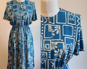 1980s Blue Geo Floral Dress