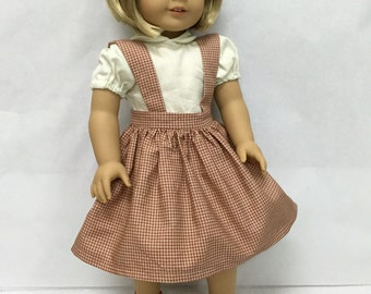 Handmade 18 inch doll clothes - Blouse & Red Checked Jumper