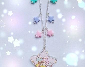 Little Twin Stars Falling Stars Necklace, Fairy Kei, Pastel Kei, Mahou Kei, Harajuku etc inspired