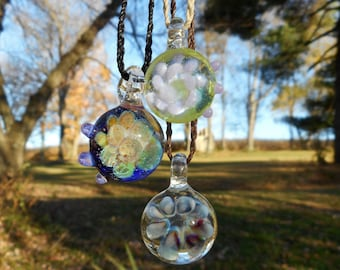 Galaxys In Glass // Glass Blown Pendant // Glass Implosion