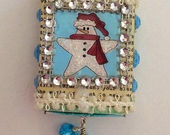 Primitive Snowman Matchbox Christmas Ornament