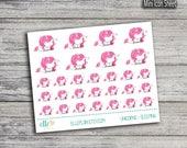 Pink Unicorn Series: Sleeping - Planner Icon Stickers (Glossy & Matte)
