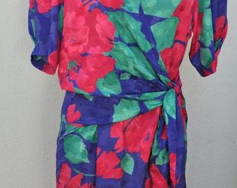 Vintage 80's floral dress ARCHA Paris Size 38-40 FR