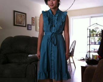 Vintage blue 70s Girls Dress
