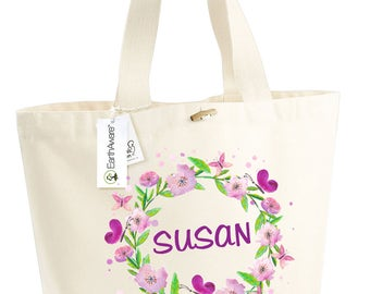 Cotton bag BIO flowers violets Susan - large bag slung - mothers holiday - married - bridesmaid - customizable - anniversary