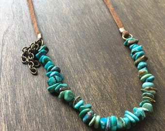 Turquoise Suede Leather Necklace, Bohemian Beaded Necklace, Tribal Leather Necklace, Rustic Necklace, Turquoise Jewelry, Gift Under 30