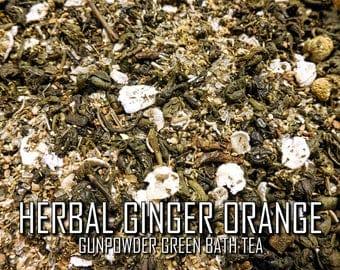 Herbal Ginger Orange | 2-pk | Soothing Fair-Trade Organic Gunpowder Green/Oatmeal/Dead Sea Salt Hot Compress Bath Tea Bags with Jute