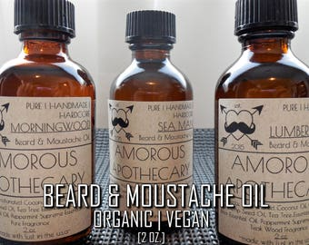 Organic Beard & Moustache Oil | Pure Vegan 2 oz. Wood/Musk/Ocean/Tobacco Scented Luxury Nourishing Taming Ointment for Facial Hair