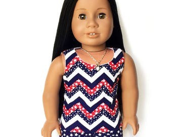 Tank Top, 4th of July, Flags,Chevron, Stars, Stripes, Red, White, Blue, American Doll Clothes, 18 inch Doll Clothes, Spring, Summer
