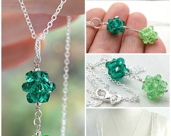 Dainty St Patricks Day Necklace Sterling Silver Chain Tiny Crystal Double Ball Pendant Crystal Cluster Irish Green Two Tone Color Block