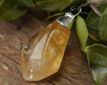 Polished Freeform CITRINE Pendant - Polished Citrine Necklace, Raw Citrine Jewelry, Yellow Citrine Crystal Pendant, Citrine Point E0305