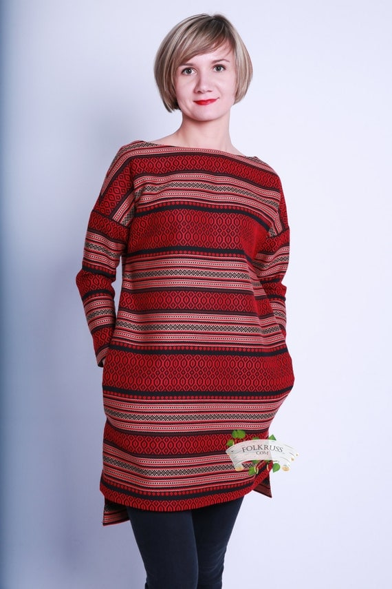 Slavic Casual Linen Dress, All-day Linen dress, Red Linen Short Dress, Striped dress, Red Warm Tunic, Long sleeve tunic, Striped tunic